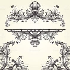 Francese Acanthus incisione Set illustrazione royalty-free