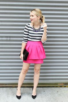Pink Skirt and stripe top