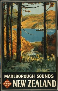 Mitchell, Leonard Cornwall, 1901-1971 :Marlborough Sounds, New Zealand / Govt Tourist Dept. G H Loney, Government Printer, Wellington [1934-1937].