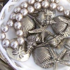 Spray seashells silver for a beautiful display