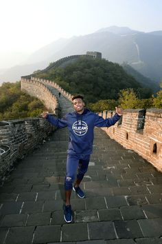 Buddy Hield taking in the sites atop the Great Wall of China