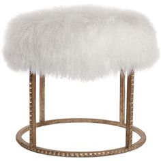 Pom Pom Hollywood Regency White Lamb Gold Studded Pouf Ottoman ($1,649) ❤ liked on Polyvore featuring home, furniture, ottomans, white footstool, old hollywood glamour furniture, hollywood regency furniture, gold furniture and white furniture