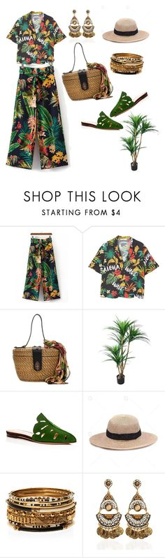 """025"" by saddenseven ❤ liked on Polyvore featuring MANGO, Patricia Nash, Charlotte Olympia, Amrita Singh, Summer, tropical, print and palms"