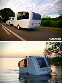 Sealander Amphibious Camping Trailer. What what?! Sa'weet!!!