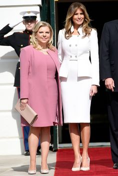 First Lady Melania Trump made an appearance in a Delpozo midi dress on Sunday, August 20 — see more of her most stylish looks here Classy Suits, Classy Dress, Milania Trump Style, Dress Outfits, Fashion Dresses, Corporate Wear, First Ladies, First Lady Melania Trump, Latest Outfits