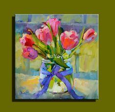 Pas cher Abstraite moderne mur de toile peint à la main peinture couteau fleur peinture à l'huile de tulipe sur la toile pour le salon décoration mur de la chambre, Acheter  Peinture et calligraphie de qualité directement des fournisseurs de Chine:       Marque:     Mu ya       Statut:     À vendre, disponible, 100% fait main.       Taille:       20x20in,