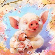 Polona Lovsin  art pig piglet flower mom                                                                                                                                                                                 More