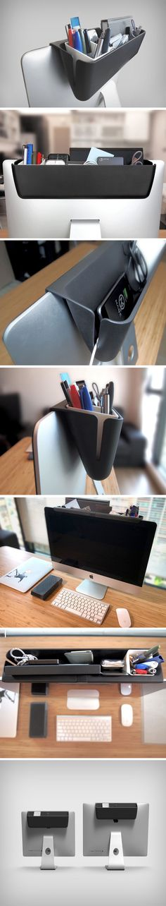 The Mac Caddy is just pure genius, from concept, to execution, to even the name (Mac Daddy, geddit?)! The Mac Caddy is, in short, a desk-declutterer. It uses the iMac's slim design and the fat bezel at the top to create a nice storage unit that hangs stealthily at the back of your iMac, away from sight, but within reach.