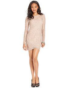 GUESS Dress, Long-Sleeve High-Neck Lace Mini - Dresses - Women - Macy's