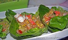 Lobster Quinoa Lettuce Cups w/ Guacamole. Under 400 calories per serving!