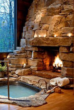 Breathtaking Luxury Hot Tub Ideas That Inspire You DecorTrendy - A . - Breathtaking Luxury Hot Tub Ideas That Inspire You DecorTrendy – A … # stunning - # Rustic Bathroom Designs, Rustic Bathrooms, Dream Bathrooms, Large Bathrooms, Cabin Homes, Log Homes, Rustic Hot Tubs, Spa Luxe, Fireplace Design