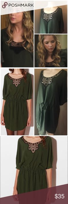 Vasia by Ulla Johnson Silky Lace Inset Dress As seen on Hanna in Pretty Little Liars. Gorgeous great condition Vasia silky olive green dress with drawstring waist and lace inset. Purchased at Urban Outfitters. Size XS, but this is roomy and can fit a XS-Medium Urban Outfitters Dresses Mini
