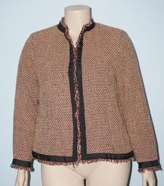 Carole Little 1x Brown & Red Tweed Fringe Silk Blend Clasp Front Jacket Blazer #CaroleLittle #BasicJacket