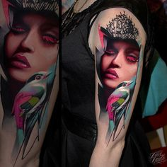 A stylish and colorful tattoo piece by artist Dave Paulo. | Intenze ink