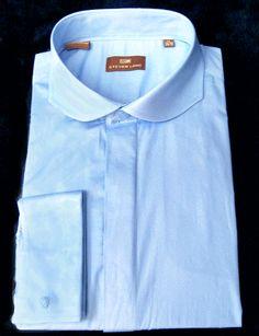 Blue French Cuff Curved Cutaway Collar Dress Shirt