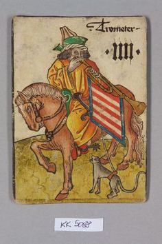 Spielkarte, Ungarn, Trompeter (Vier), aus dem sog. Hofämterspiel Wien (?)  um 1455  Spielkarte  Papier, Holzschnitt, Wasserfarben, Gold- und Silberauflagen, Federzeichnung  H. 13,9 cm, B. 9,9 cm