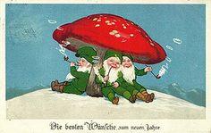 Marie Flatscher. Gnomes smoking under mushroom. Postcard, ca. 1931.