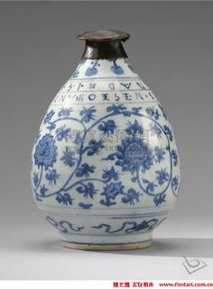 Blue and White Asian Pottery | THE BLUE AND WHITE PORCELAIN VASE-JIAJING PERIOD AND A VERY RARE METAL ...