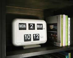 Mid Century Digital Flipcard Calendar Clock.