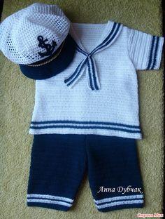 """Комплект """"Морячок"""" связан на малыша 6-9 мес. Пряжа белая Мисс от Ализе, синяя Форевер от Ализе. Расход по 2,5 моточка каждого цвета. Крючки №1,3 и 1,5."""