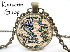 The Old Map Necklace, Map Necklace, Pendant, Charm, Jewelry by KaiserinShop on Etsy