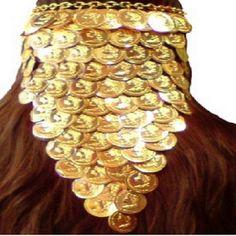 TIARA TESTEIRA CIGANA MOEDAS LENÇO <br> Tiara testeira dourada com medalhas <br>douradas em alumínio. <br>Presentei com esta linda joia sua cigana