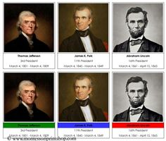US Presidents: 44 US Presidents (can be printed into a 3-part card format), includes a set with party colors