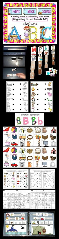 Paint Stick Sounds-Beginning Sounds - hands on word work fun and worksheets to check for learning. Kindergarten Centers, Kindergarten Literacy, Preschool Learning, Literacy Centers, Alphabet Activities, Literacy Activities, Teaching Reading, Teaching Ideas, Primary Teaching