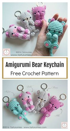 Crochet Bear Amigurumi Bear Keychain Free Crochet Pattern - This Amigurumi Bear Keychain Free Crochet Pattern is cute and practical. It will be a good decoration for a rucksack, mobile phone or keys. Crochet Simple, Crochet Diy, Easy Crochet Projects, Crochet Bear, Easy Crochet Patterns, Crochet Patterns Amigurumi, Crochet Gifts, Crochet Designs, Crochet Dolls