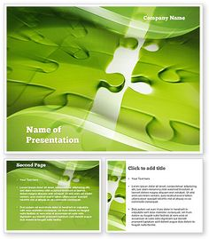 Puzzle Business PowerPoint Template made in green color with pieces of puzzle on the background will fit presentations on puzzle, puzzle business, puzzle of partnership, to guess a riddles, conundrums, solving problems, mind games, correlation, interdependence of events, etc. Download at http://www.poweredtemplate.com/10939/0/index.html