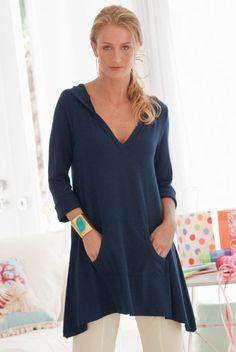 Go To Tunic - Hooded Tunic, Kangaroo Pocket, Belled Sleeves | Soft Surroundings