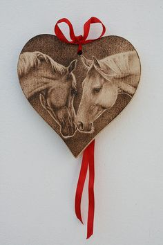 Wooden Heart  Horses in Love  Pyrography  handmade by SantoArt