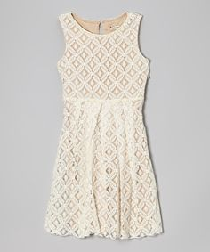 Loving this Speechless Ivory Geometric Lace Dress - Girls on #zulily! #zulilyfinds