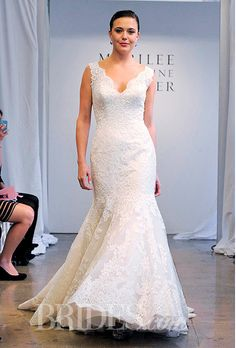 Brides.com: . Style 2605, sleeveless lace trumpet wedding dress with a scalloped v-neckline, Mori Lee
