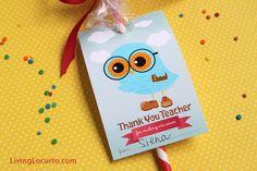 Free printable Thank You owl tags for a teacher.