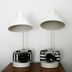 Style a lamp with an old camera to make it more fun