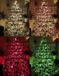 okay! this is my christmas tree(that i LOVE) because when i put the lights on, they go from top to bottom in each color. this allows me to connect each to one of those outlet remotes. SOOOO, i can have any one color OR ALL of them at the same time! SO FUN!!!