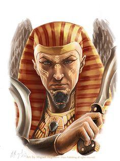 Userib by MiguelRegodon on DeviantArt Fantasy Portraits, Character Portraits, Character Art, Character Design, Egyptian Mythology, Egyptian Goddess, Egyptian Art, Ancient Egypt Art, Occult Art