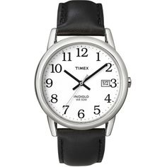 Mens Timex Easy Reader 35mm Watch ($43) ❤ liked on Polyvore featuring men's fashion, men's jewelry, men's watches, brass, mens leather band watches, mens watches jewelry, mens white dial watches and mens white face watches