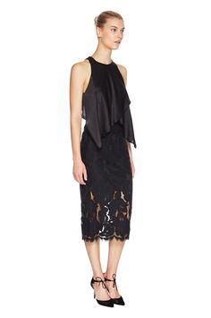 Lovers black lace and silk top midi dress