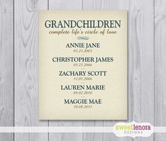 Grandchildren Custom Print  8x10  Gift for by SweetLenoraDesigns, $19.95