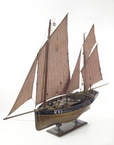 Model of a Hastings lugger with all sails set.