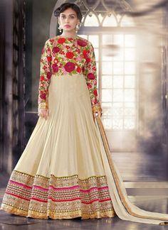 Cream Floral Embroidered Anarkali Salwar Suit - shopneez.com