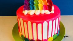 Create a fun and colorful drip cake using candy melts. Get recipes and frosting ideas on my blog at today's creative Food.com