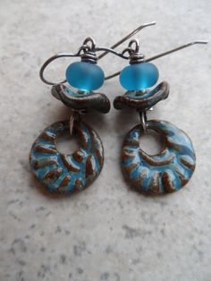 Cerulean 'N Chocolate ... Ceramic, Antique Desert Glass Lampwork and Sterling Silver Earrings