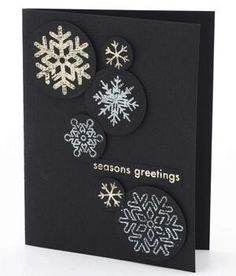 36 Easy Handmade Christmas Card Ideas credit: Scrapbooks Etc. Diy Holiday Cards, Simple Christmas Cards, Xmas Cards, Handmade Christmas, Christmas Diy, Black Christmas, Greeting Cards, Christmas Abbott, Christmas Island