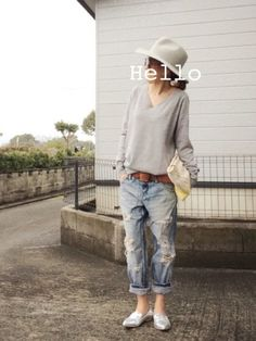 gray colour and jeans.