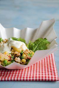Riisi-kana-kasvissalaatti Potato Salad, Salads, Tacos, Potatoes, Mexican, Healthy Recipes, Ethnic Recipes, Food, Potato