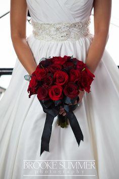 Clocktower wedding photography Denver, CO modern wedding, chic wedding, red roses wedding, red and black wedding http://www.brookesummer.com