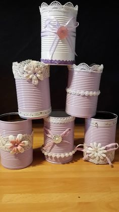 Tin Can Crafts, Diy Crafts For Gifts, Jar Crafts, Bottle Crafts, Diy Craft Projects, Decoupage Jars, Decoupage Vintage, Pink Mason Jars, Mason Jar Diy